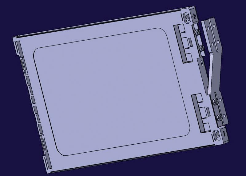 4. Screenshot di una singola cella di tipo pouch completa di porta cella in Windform® FR2  e sistema  di raffreddamento.