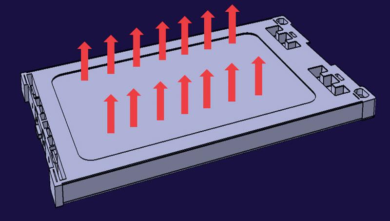 6. Screenshot di una singola cella con porta-cella. Le frecce rosse indicano la direzione dell'aumento di volume.