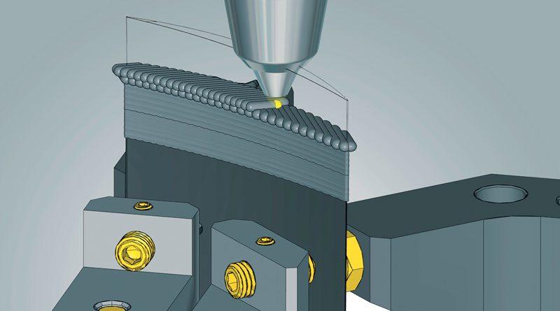 Lavorazione ibrida con hyperMILL® ADDITIVE Manufacturing: riparazione della paletta di una turbina.