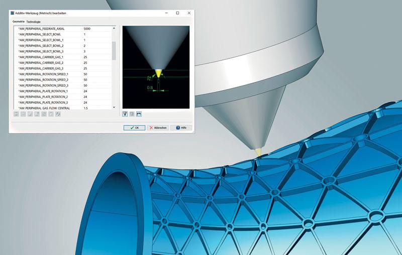 Rappresentazione dettagliata della testa in hyperMILL® in fase di lavorazione laser.