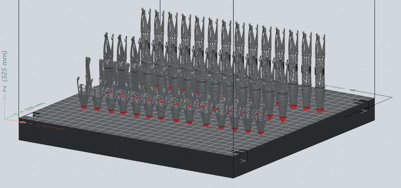 Al fine di trovare la forma perfetta per i prop-support, la giusta distanza di offset e i parametri di stampa adatti, il team di EOS ha eseguito un DoE (Design of Experiment) utilizzando EOSPRINT.