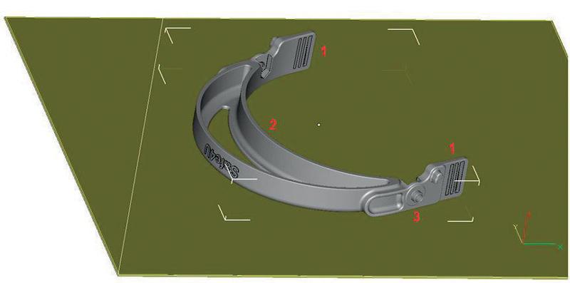 Videata del progetto per l'archetto della visiera Safe4U, realizzato in Windform® FX BLACK, visione dal basso: 1) dettaglio del sistema a fibbia per regolare la banda elastica di ritenzione; 2) dettaglio della parte concava su cui applicare la spugna antisudore; 3) dettaglio posizionamento pomelli laterali per il fissaggio e regolazione della visiera.