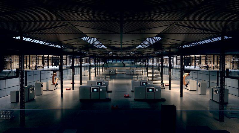 Panoramica di una fabbrica automatizzata da tecnologie di Additive Manufacturing.