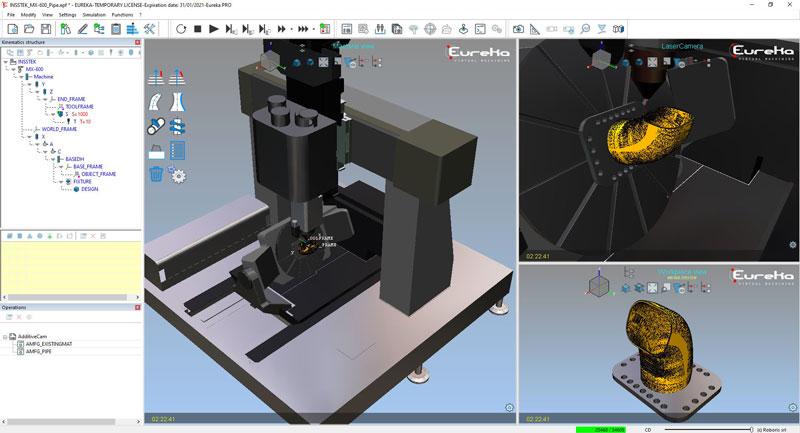 Creazione di percorsi di stampa 3D per macchine CNC a 5 assi con Eureka Additive integrato in Eureka Robot.