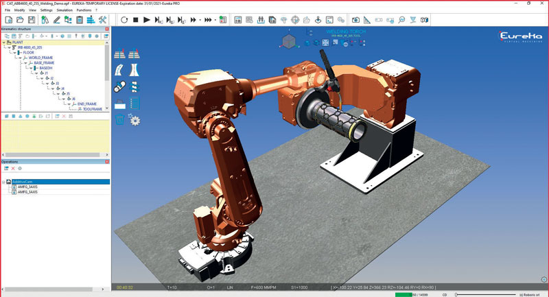 Creazione di percorsi di stampa 3D per robot industriali con posizionatore con Eureka Additive integrato in Eureka Robot.