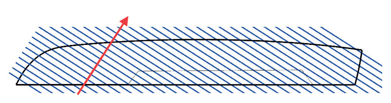 Esempio di lavorazione 3+2 assi e schema di slicing.