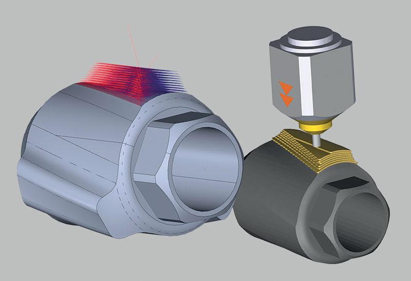 Il DED 4 assi ha le stesse capacità di DED 3+2 con l'aggiunta di consentire la deposizione mentre si ruota contemporaneamente il pezzo intorno a un asse. Le traiettorie per la struttura sono formate da offset circolari che utilizzano una slice speciale per costruire la feature, livello per livello.