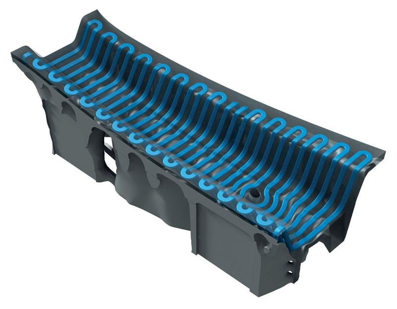 Rendering di un segmento di stampo realizzato in 3D con canali di raffreddamento ottimizzati.