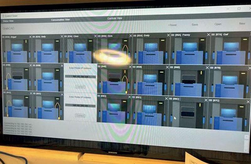 Pannello di controllo del software Skylab che gestisce tutte le 60 stampanti 3D.