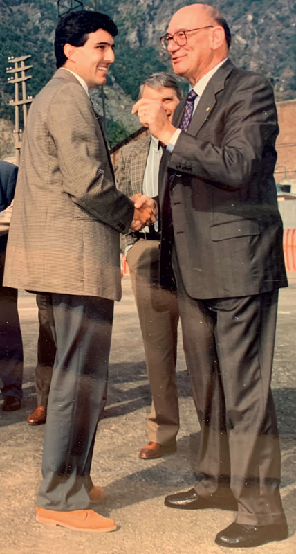 Sergio Gallo and Claudio Mus at the inauguration of the Meridian facility in Verrés (1995)