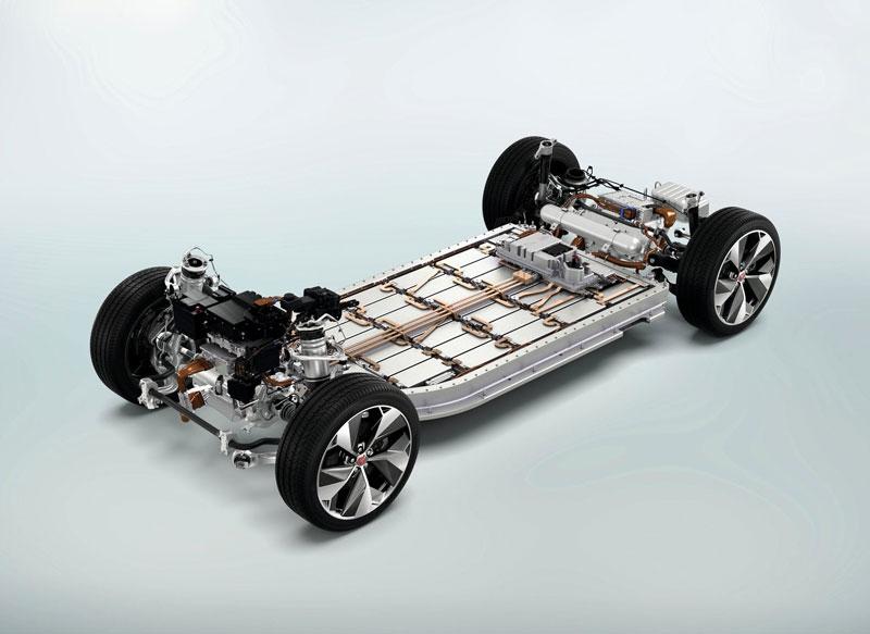 Schema del sistema di propulsione di un'auto elettrica (Jaguar I-Pace)