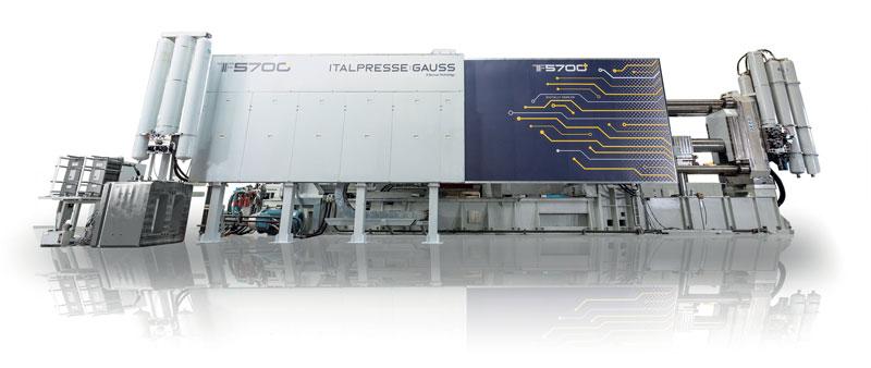 La nuova macchina per pressocolata senza ginocchiera Italpresse Gauss TF5700 (5.700 tonnellate di forza di chiusura)