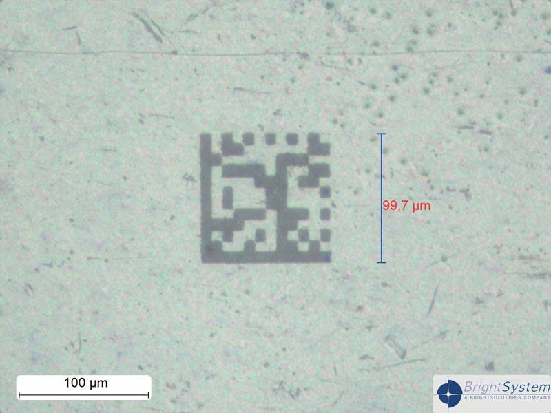 MicroMake utilizzato per micro-codifica di precisione su circuiti elettronici attraverso la realizzazione di datamatrix a 12x12 celle con dimensioni totali 100x100 mm2.
