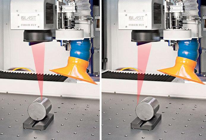 Senza il movimento di un asse Z meccanico esterno LASIT è in grado di marcare superfici non piane, a diverse altezze o cilindriche.