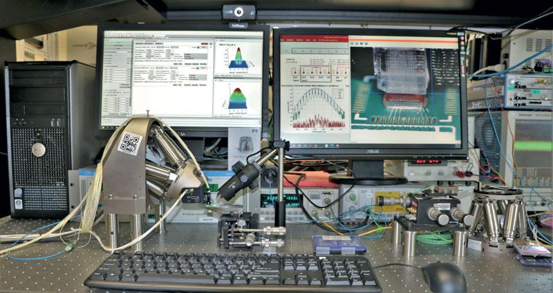 Banco di caratterizzazione e test dei dispositivi fotonici equipaggiato con il Sistema F-712.HA2 della Physik Instrumente.