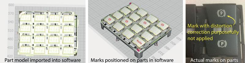4. Per utilizzare il sistema di marcatura 3D SmartMap di Coherent, viene importato nel software un modello CAD del pezzo, e l'utente posiziona le marcature desiderate sul pezzo o sui pezzi. I risultati finali mostrano che la correzione della distorsione è necessaria per ottenere la corretta geometria della marcatura sul pezzo.