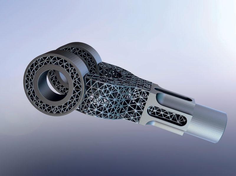 2. Esempio di giunto in titanio, realizzato con tecnica AM per l'industria aerospaziale.