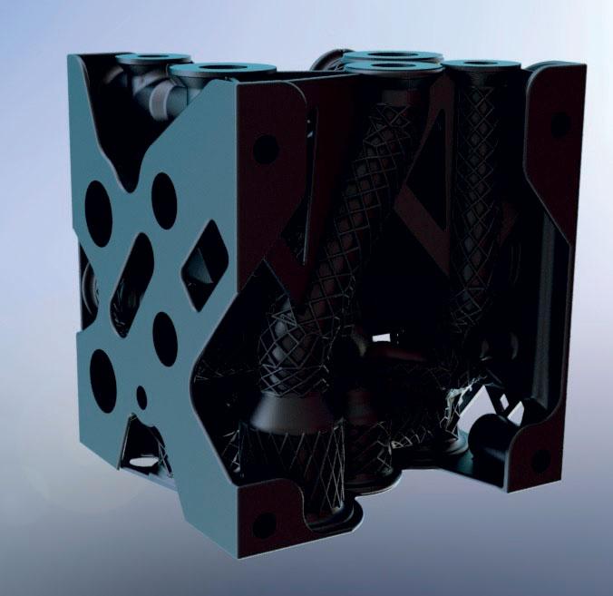 3. Esempio di un raccordo industriale in acciaio inossidabile AISI 316L, realizzabile in un unico pezzo solo tramite AM con conseguente riduzione di peso e ottimizzazione delle perdite di carico.