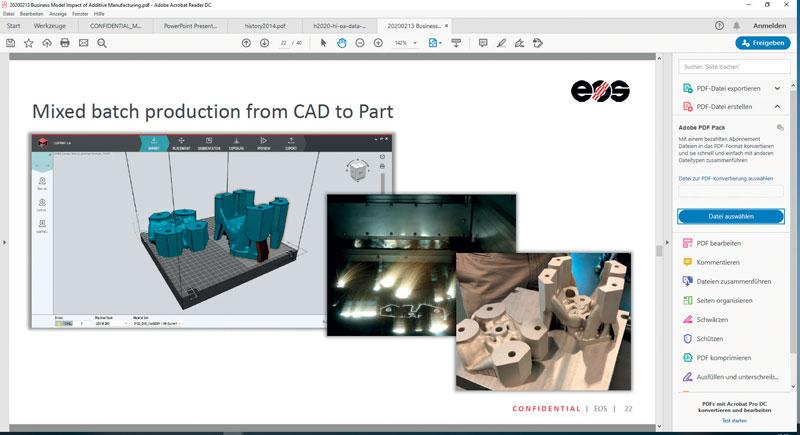 6. Esempio di flusso operative da EOS dai dati CAD fino al pezzo finito e quattro sistemi di controllo integrati.