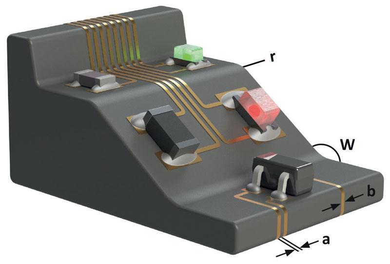 Dimensioni e posizione: valore minimo per le distanze tra le piste (a) 150 μm; preparazione minima delle piste (b) 150 - 250 μm; raggio (r): 0,2 mm.