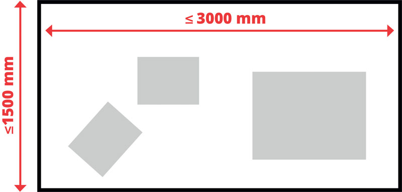 SVS2, grazie all'utilizzo di due telecamere, ha un campo di lavoro molto più esteso, fino a 3.000 x 1.500 mm.