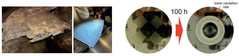 5. Laser Shock Peening (LSP) per ridurre la cavitazione sulle eliche delle pompe d'acqua; a sinistra: pale dell'elica danneggiate vs LSP; a destra: esperimento di cavitazione sul disco di prova LSP che ha mostrato una minore profondità di cavitazione e una minore perdita di massa nell'area LSP. ©HiLase