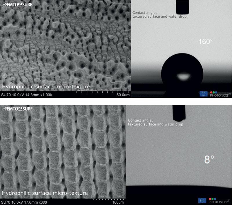 La tecnologia per la tramatura delle superfici metalliche (texturing) è in grado di conferire proprietà idrofobiche, idrofiliche, antibatteriche e altro ancora.