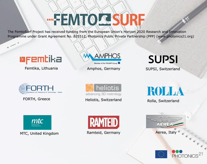 I nove partner internazionali riunitisi per dar vita al progetto FemtoSurf.