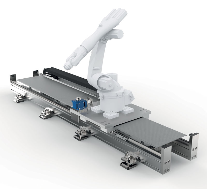 The system is suitable for working with anthropomorphic robots by various manufacturers up to loads of 2,000 kg.