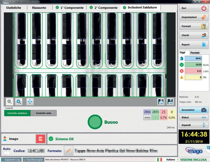 Il software di controllo permette di fermare la macchina in caso vengano individuati pezzi o corpi estranei nelle aree di lavoro.
