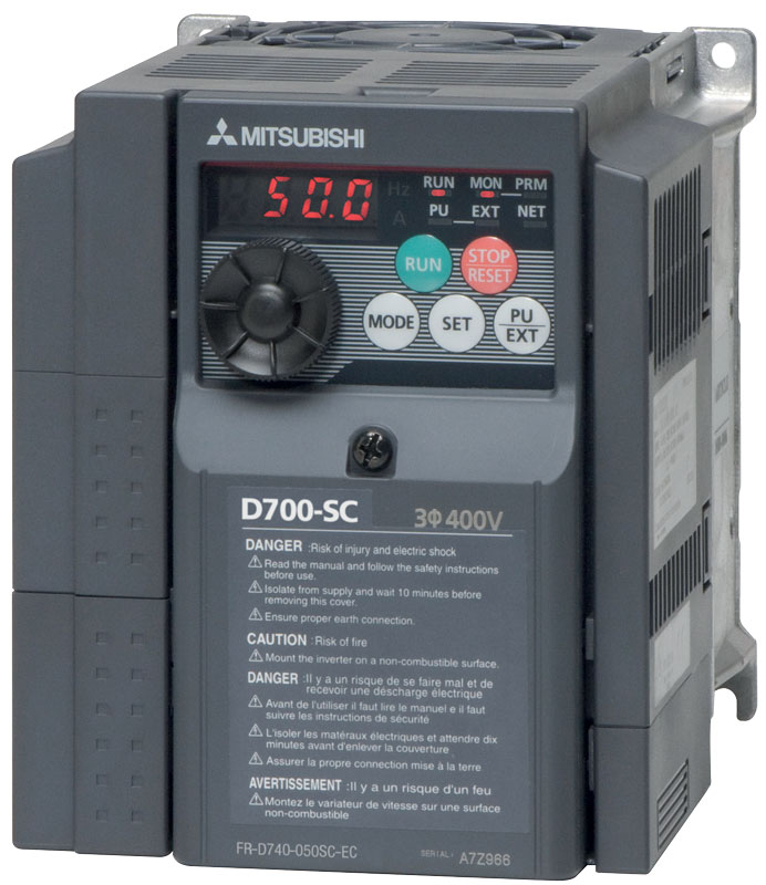 The line uses four FR-D700 Mitsubishi Electric network-controlled inverters ensuring reliability and precision in the management of the conveyor belts and the system's main motor.