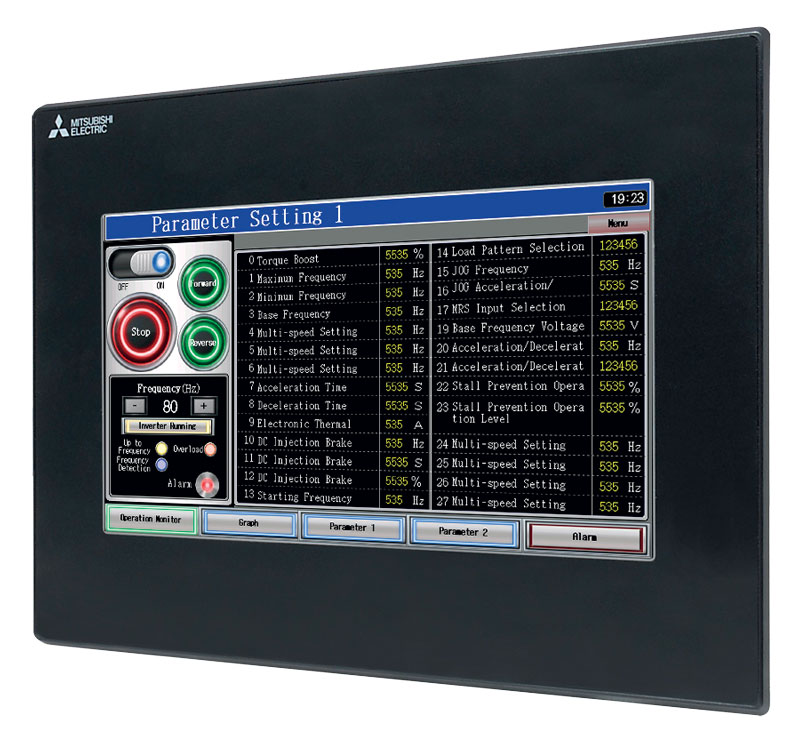 The GOT GS2107 series touch screen operator panel by Mitsubishi Electric allows the extremely intuitive and fast setting of machine parameters.
