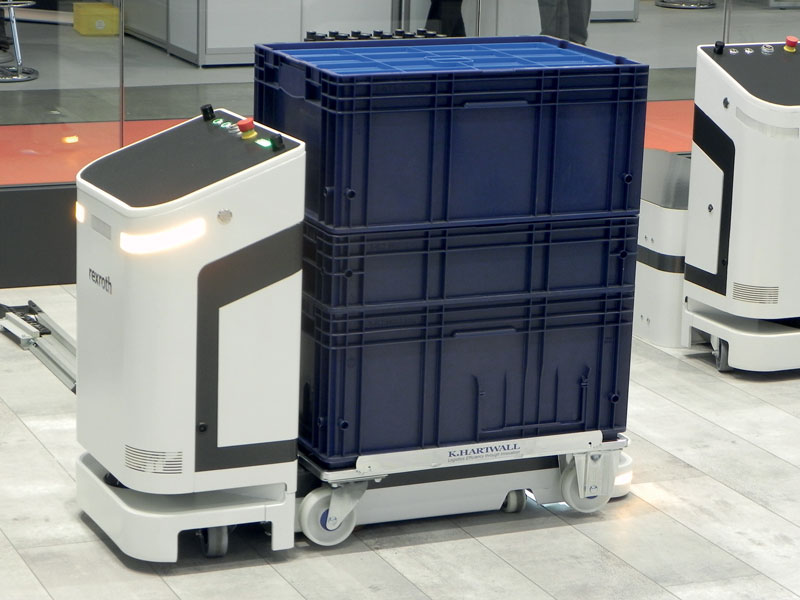 The ActiveShuttle's laser navigation system ensures safe and efficient transportation in high traffic work environments.