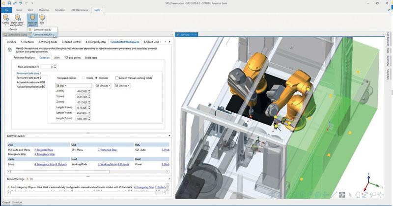 Stäubli Robotics Suite rende facile e comodo visualizzare e valutare concetti di automazione e digital twin in un ambiente 3D.