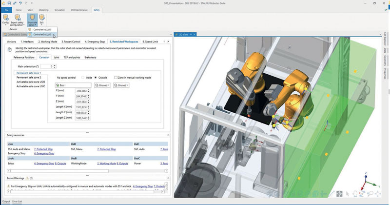 Stäubli Robotics Suite makes it easy and convenient to visualize and evaluate automation concepts and digital twins in a 3D environment.