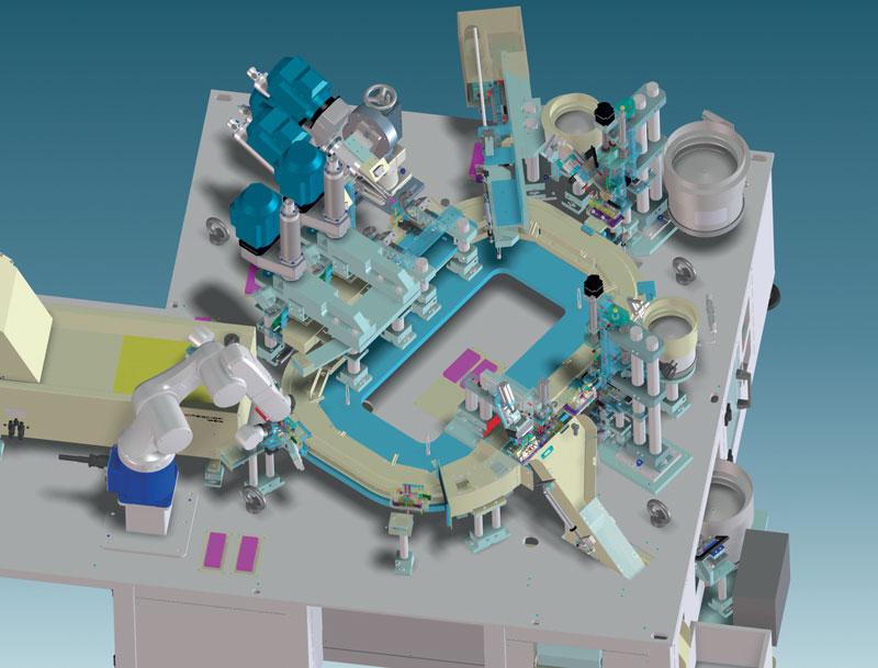 La macchina di assemblaggio HFMS conta una serie di stazioni di lavoro, alimentate da una linea a pallet ad assi lineari.