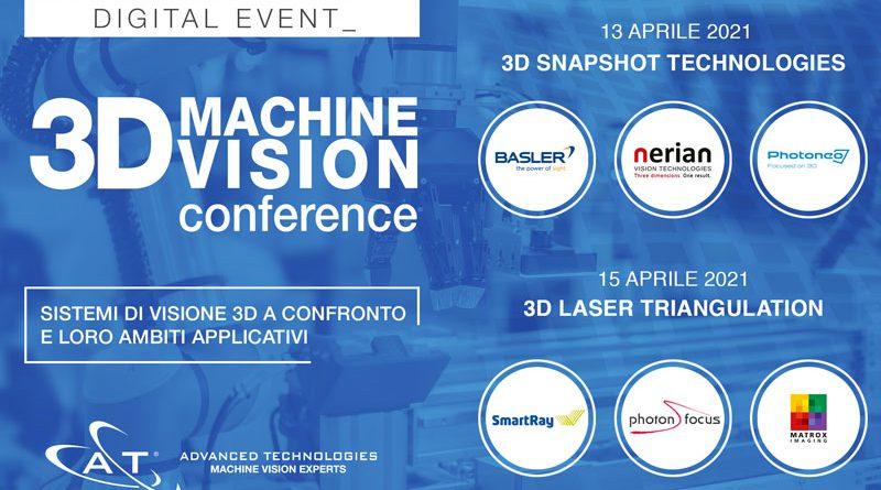 Advanced Technologies, 3D Machine Vision Conference, tecnologie Snapshot, triangolazione laser, Basler, Nerian, Photoneo, Claudio Guido, SmartRay, Photonfocus, Matrox