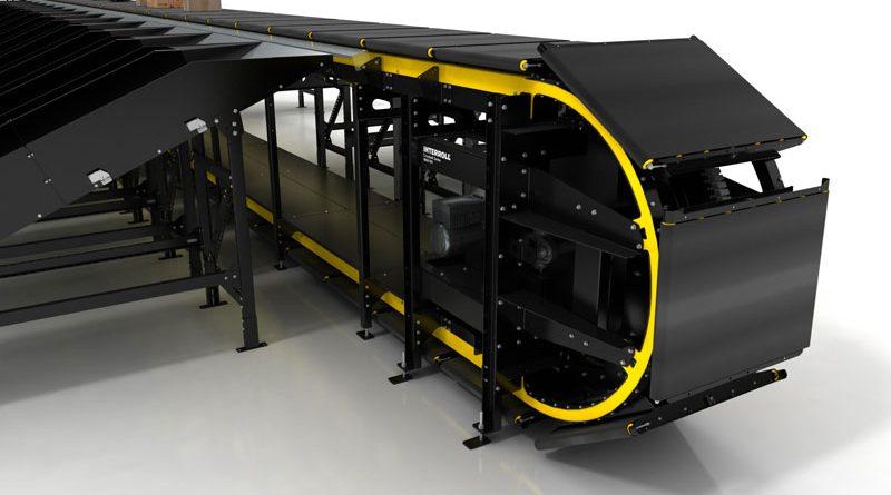 Interroll presenta lo smistatore automatico verticale Crossbelt Sorter MX 018V.