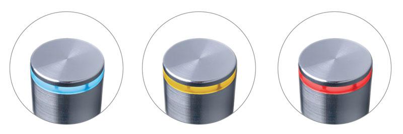 Un anello LED a colorazione variabile identifica lo stato del sensore.