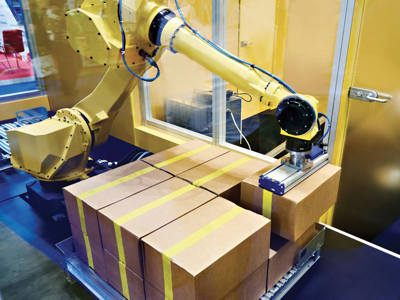 Speed and movement limits for palletisers with robotic arm.