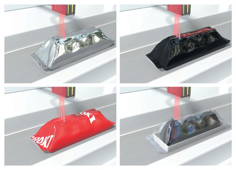Si possono rilevare imballaggi con un'ampia gamma di colori e trasparenza.