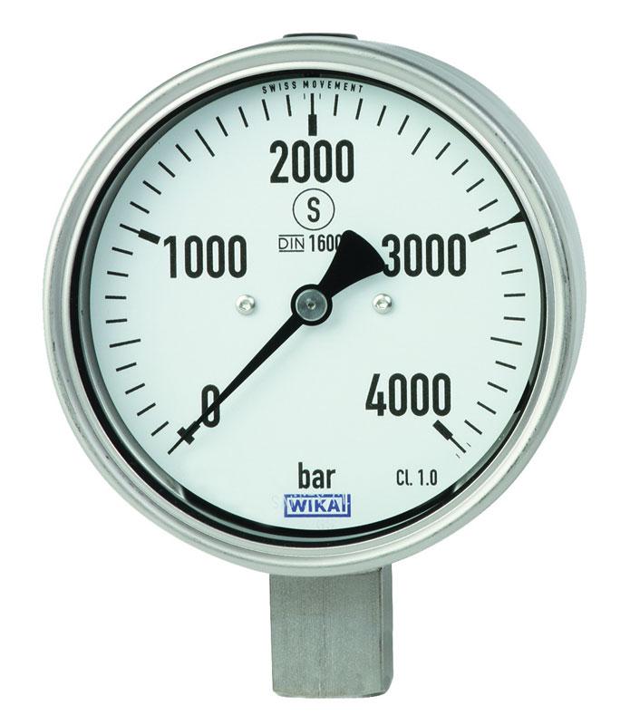 Manometro a molla Bourdon in acciaio inox, per applicazioni con pressioni fino a 6.000 bar, versione robusta