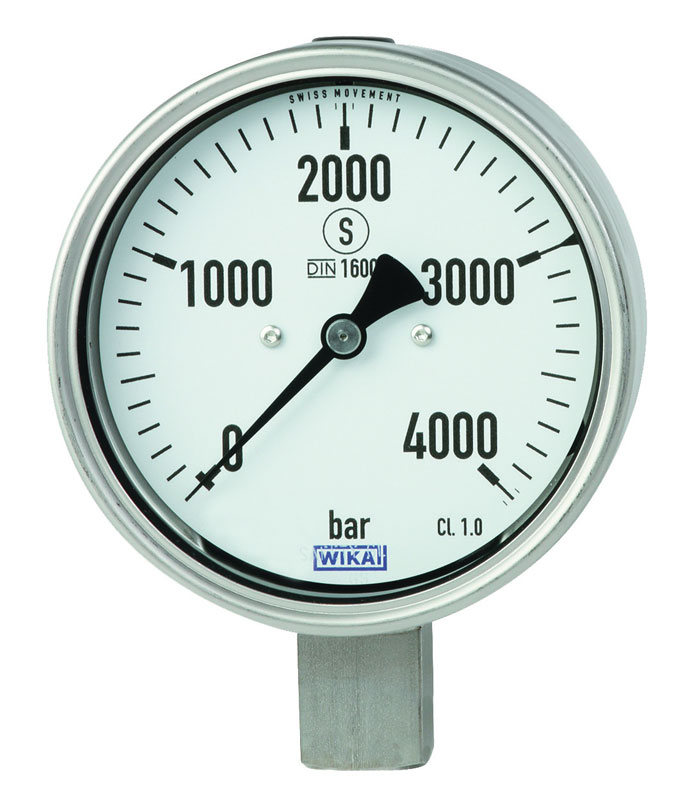 Bourdon spring pressure gauge in stainless steel, for applications with pressures up to 6,000 bar, robust version.