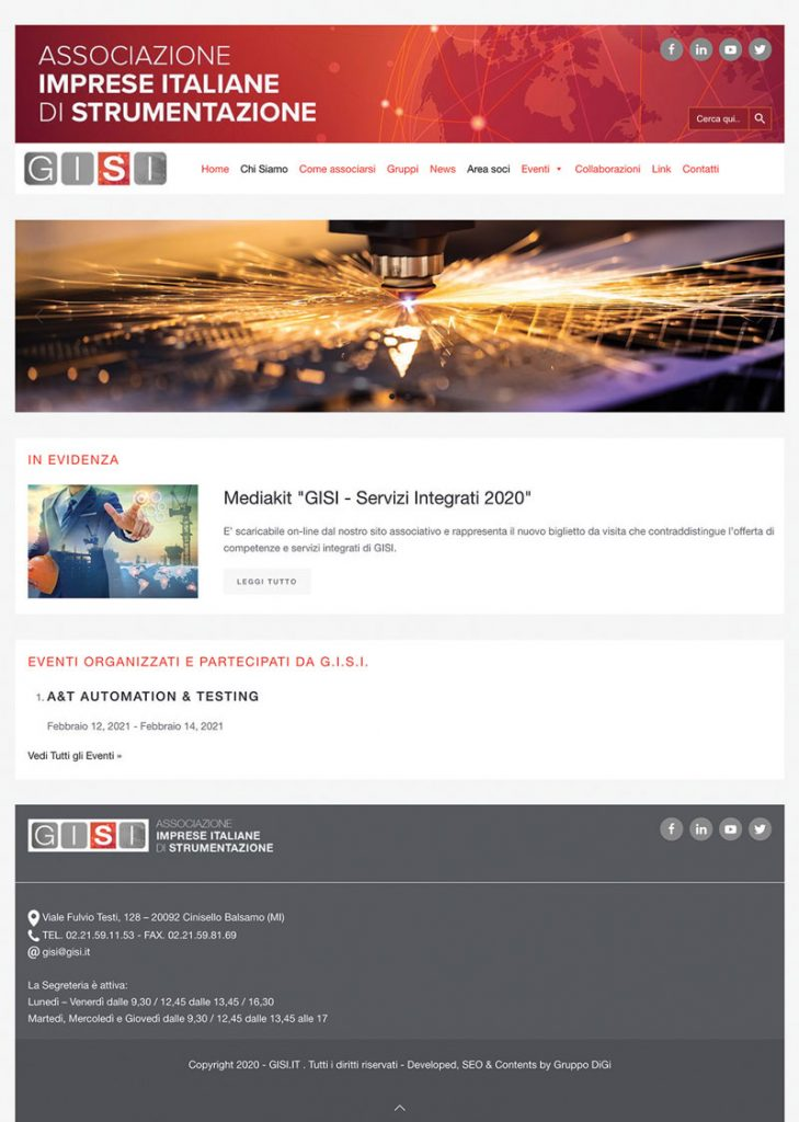 The new site G.I.S.I. is mobile-friendly and integrated with social media.