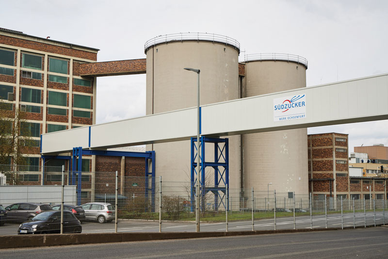 The Südzucker sugar towers are silos in which the supply is stored.