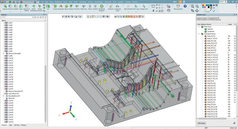 Gli strumenti di analisi dei fori di Cimatron consentono alle aziende di assicurarsi che tutti i fori (sia quelli progettati internamente o tramite subappaltatori) siano conformi ai propri macchinari, strumenti e sequenze standard di foratura.