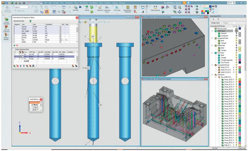 L'applicazione Automated Drill di Cimatron automatizza l'assegnazione dei fori alla sequenza di foratura appropriata, risparmiando tempo ed eliminando il rischio di errori.