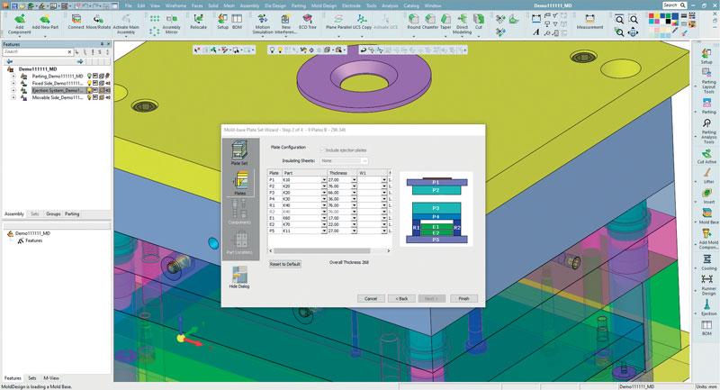 Lo strumento Mold Base di Cimatron permette di generare infinite combinazioni di stampi utilizzando parti di catalogo standard e personalizzate, riducendo in pochi minuti le ore di lavoro.