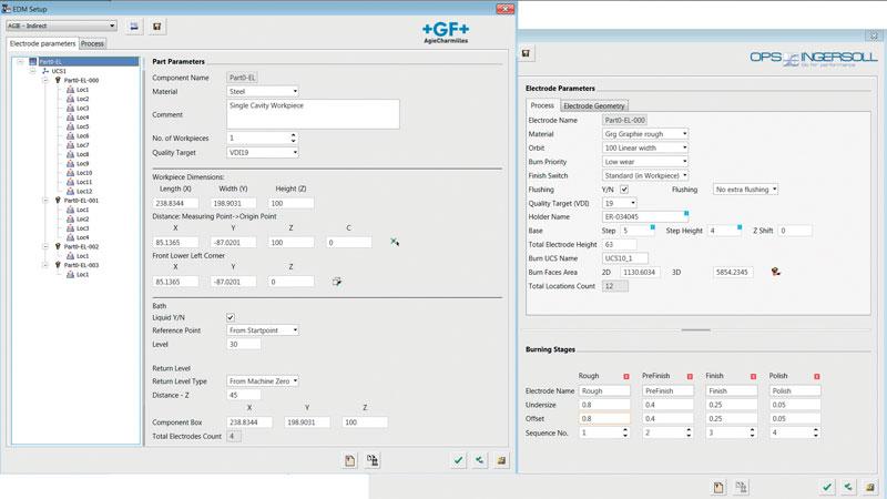 Il tool EDM Setup permette di definire tutti i parametri e i cicli di elettroerosione a tuffo per diverse macchine.