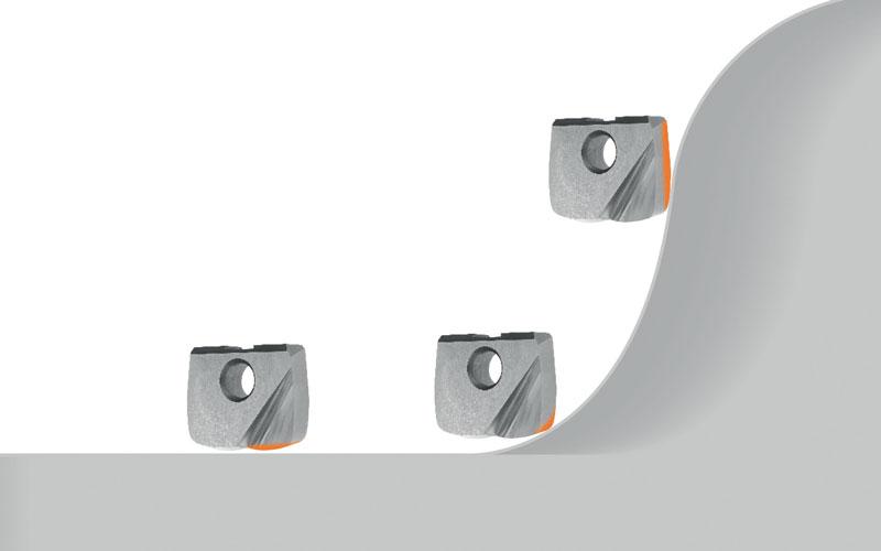 Gli inserti sono un'interessante alternativa. Hoffmann Group mette a disposizione inserti GARANT PPC per la fresatura a segmenti circolari con i taglienti principali dritti o conici.